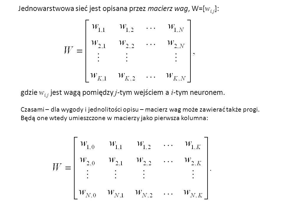 Jednowarstwowa sieć jest opisana przez macierz wag, W=[wi,j]: